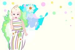 Bambino alla moda dell'illustrazione astratta dell'acquerello, vestito barrato Immagine Stock Libera da Diritti