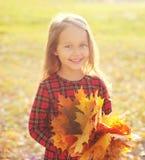Bambino allegro con le foglie di acero gialle divertendosi in autunno Fotografie Stock