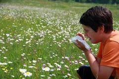Bambino allergico a polline ed ai fiori con un fazzoletto mentre s Immagine Stock