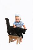Bambino & blackcat Fotografie Stock Libere da Diritti