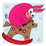 Bambino animale del fumetto che gioca l'illustrazione del giocattolo Immagine Stock Libera da Diritti