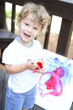 Bambino Art Fingerpainting Fotografie Stock