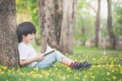 Bambino asiatico che legge un libro Fotografia Stock Libera da Diritti