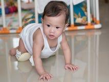 Bambino asiatico che striscia sul pavimento nella sua casa Fotografie Stock Libere da Diritti