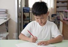 Bambino asiatico nella stanza di codice categoria Fotografia Stock Libera da Diritti