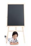 Bambino asiatico sveglio con il bordo nero Fotografia Stock Libera da Diritti