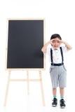 Bambino asiatico sveglio con il bordo nero Fotografie Stock