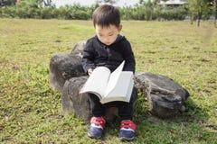 Bambino astuto che legge un libro nel parco Immagini Stock