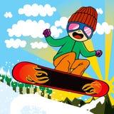 Bambino attivo dello Snowboarder Fotografie Stock Libere da Diritti