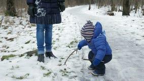 Bambino attraente che gioca con la madre nell'inverno sulla via Il ragazzo nelle mani dei rami degli alberi video d archivio
