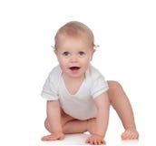 Bambino biondo adorabile nello strisciare della biancheria intima Immagine Stock Libera da Diritti