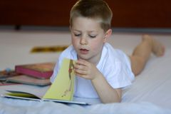 Bambino biondo con il libro Immagine Stock Libera da Diritti