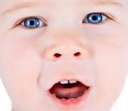 Bambino biondo e bambino del ragazzo degli occhi azzurri con i vari expres facciali Fotografia Stock