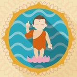 Bambino Buddha sopra Lotus nello stile piano, illustrazione di vettore Immagine Stock