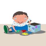 Bambino in camicia blu illustrazione vettoriale