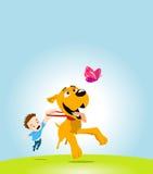 Bambino, cane e farfalla Fotografia Stock