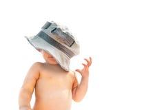 Bambino in cappello del padre Fotografia Stock