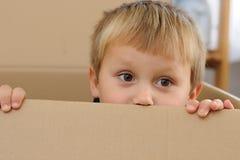 Bambino in casella di carta Fotografia Stock