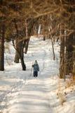 Bambino che cammina nel legno Fotografia Stock