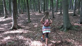 Bambino che cammina nella foresta, bambino che fa un'escursione le montagne, ragazza che gioca nell'avventura di campeggio stock footage