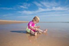 Bambino che conta le conchiglie Fotografie Stock