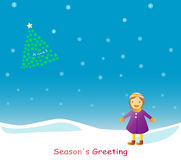 Bambino che desidera nella neve illustrazione vettoriale