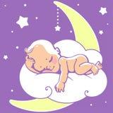 Bambino che dorme sulla luna Immagini Stock
