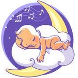 Bambino che dorme sulla luna Immagine Stock