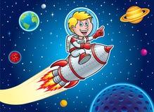 Bambino che fa saltare attraverso lo spazio cosmico Fotografie Stock