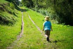 Bambino che fa un'escursione da solo nel legno Fotografia Stock