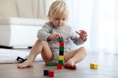 Bambino che gioca con i blocchi di legno Immagine Stock Libera da Diritti