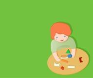 Bambino che gioca con il giocattolo illustrazione di stock
