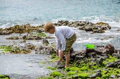 Bambino che gioca con le onde di marzo Mediterraneo Fotografie Stock Libere da Diritti