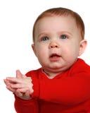 Bambino che impara applaudire le sue mani Fotografie Stock