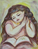 Bambino che legge uno storybook illustrazione vettoriale
