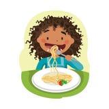 Bambino che mangia alimento sano Fotografia Stock Libera da Diritti