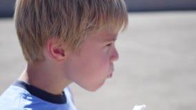 Bambino che mangia il gelato nel primo piano del parco stock footage
