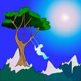 Bambino che oscilla sulle montagne Royalty Illustrazione gratis