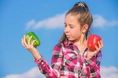 Bambino che presenta i generi di pepe Verdure nostrane del pepe della tenuta del bambino del raccolto del raccolto maturo di cadu immagine stock libera da diritti