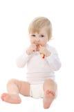 Bambino che pulisce i suoi denti Fotografie Stock