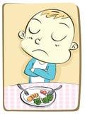 Bambino che rifiuta di mangiare verdura Fotografie Stock