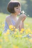 Bambino che salta dandelion2973 Fotografie Stock Libere da Diritti