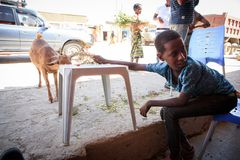 Bambino che si siede in un caffè vicino ad una strada fotografie stock