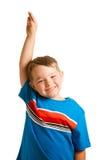 Bambino che solleva la sua mano isolata su bianco Fotografia Stock