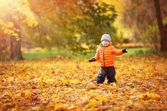 Bambino che sta con l'ombrello nel bello giorno autunnale immagine stock