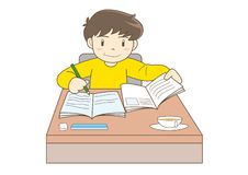 Bambino che studia immagine di vettore illustrazione vettoriale