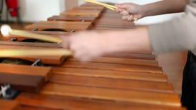 Bambino che studia lo strumento di percussione stock footage