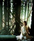 Bambino che tiene un nido caduto nella foresta Fotografie Stock
