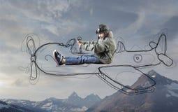 Bambino che è un aviatore Fotografie Stock