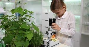 Bambino che utilizza microscopio nel laboratorio di chimica della scuola, studente che studia, esperimenti 4K video d archivio